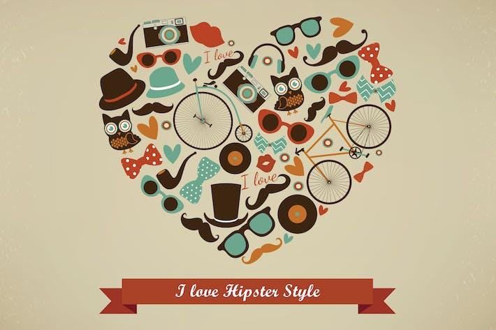 I Love Hipster Style Illustration