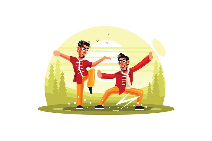 Thumbnail for Kung Fu Vector Illustration