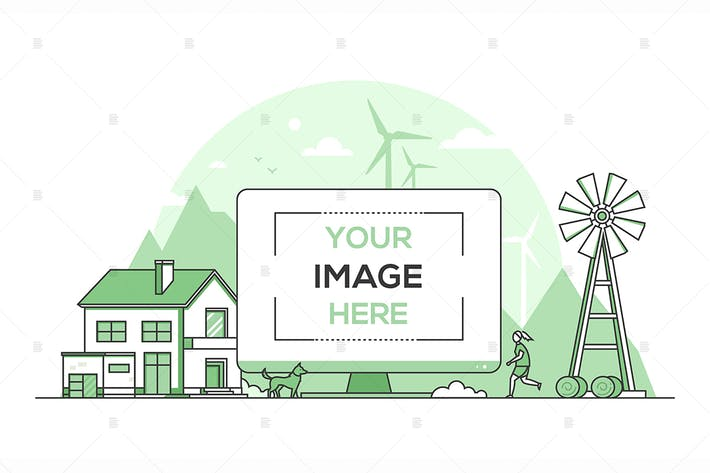 Thumbnail for Country landscape - line design style illustration