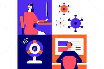 Online arbeiten - flache Design-Stil Illustration