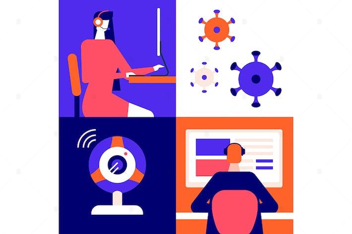 Thumbnail for Online arbeiten - flache Design-Stil Illustration
