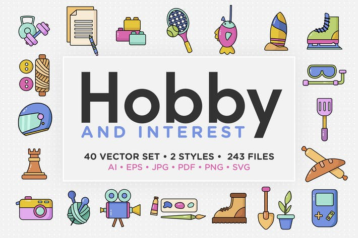 Hobby & Zinsen Vektor Icon Set