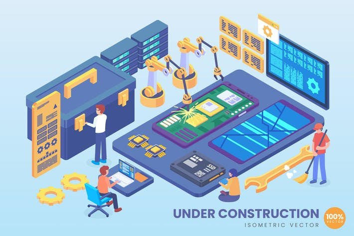 Thumbnail for Isometric Mobile Under Construction Vector Concept