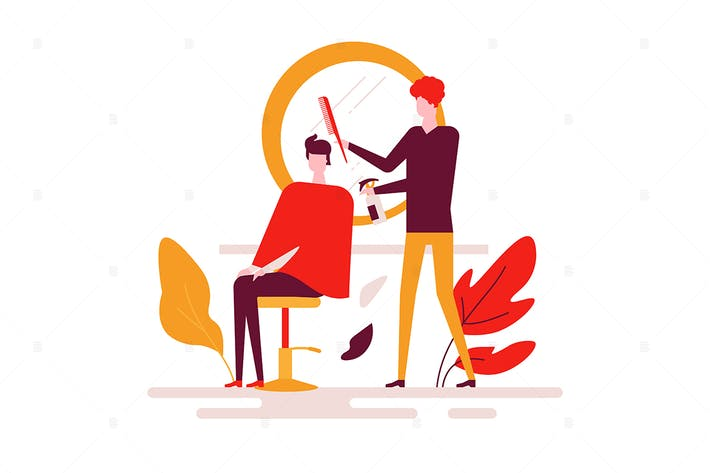 Thumbnail for Barber shop - flat design style illustration
