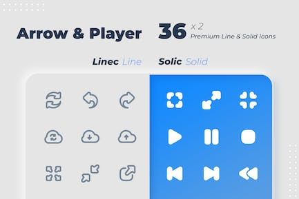 Arrow & Player | Linec & Solic Icons