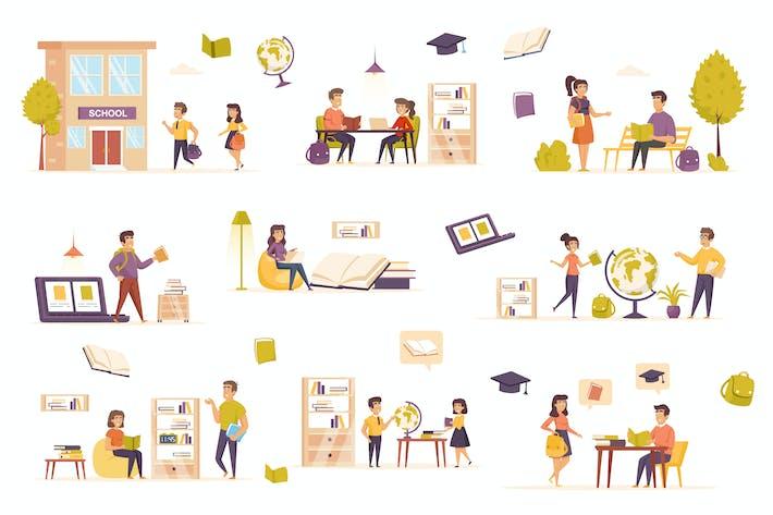Kit de creador de escenas planas de aprendizaje
