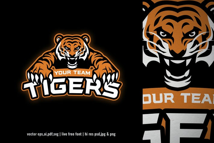 mascot of tiger for sport and e-sport logo