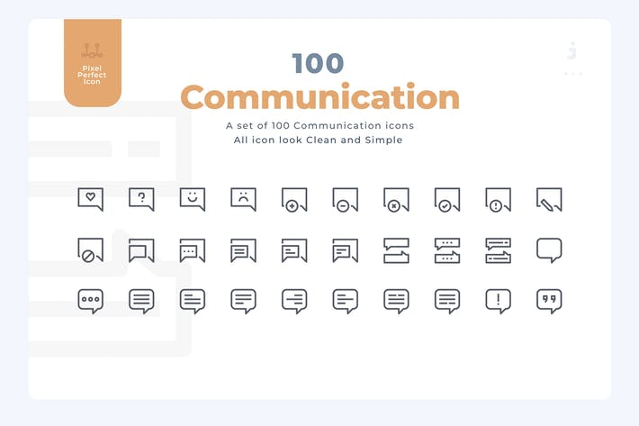 Thumbnail for 100 Communication Icons - Material Icon