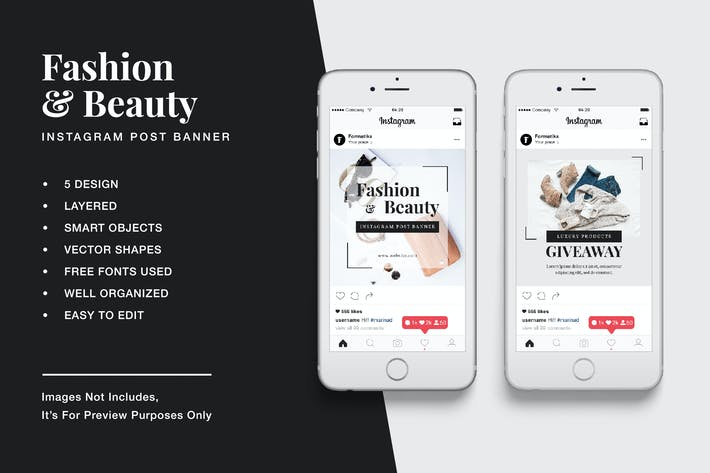 Thumbnail for Fashion & Beauty Instagram Post Banner