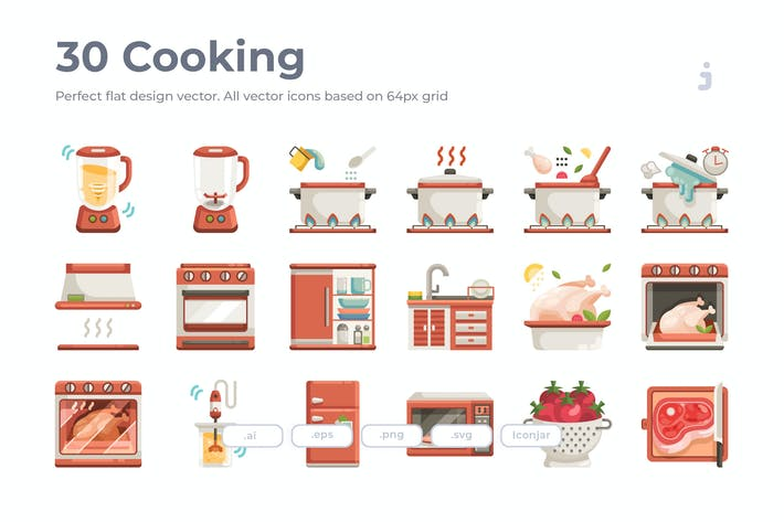 Thumbnail for 30 Cooking Icons - Flat