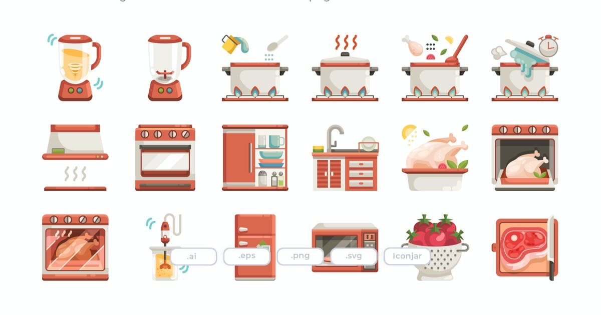 Download 30 Cooking Icons - Flat by Justicon