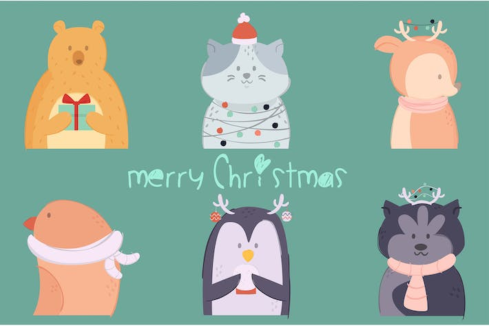 Thumbnail for Animals Christmas Illustration Pack