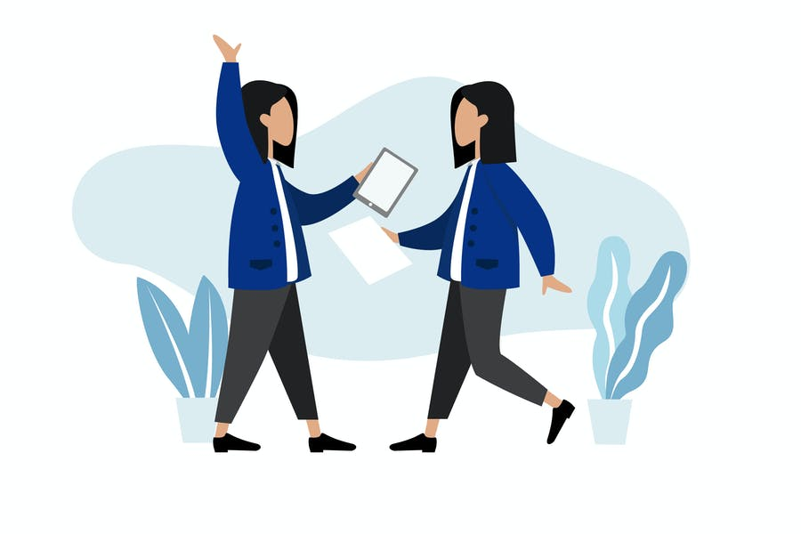 Modular Worker Woman illustration web mobile ui