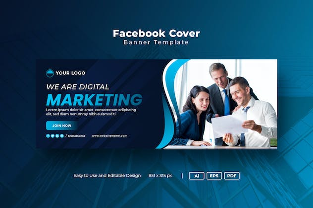 Facebook Cover Template for Digital marketing