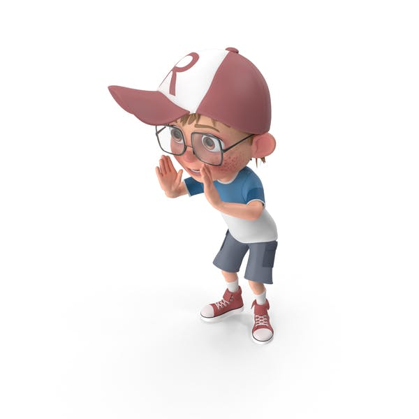 Cartoon Boy Cheering