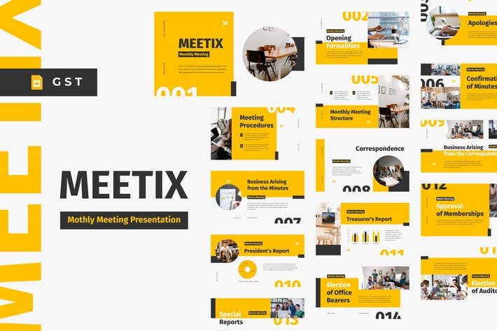 Thumbnail for MEETIX - Monthly Meeting Google Slides Template