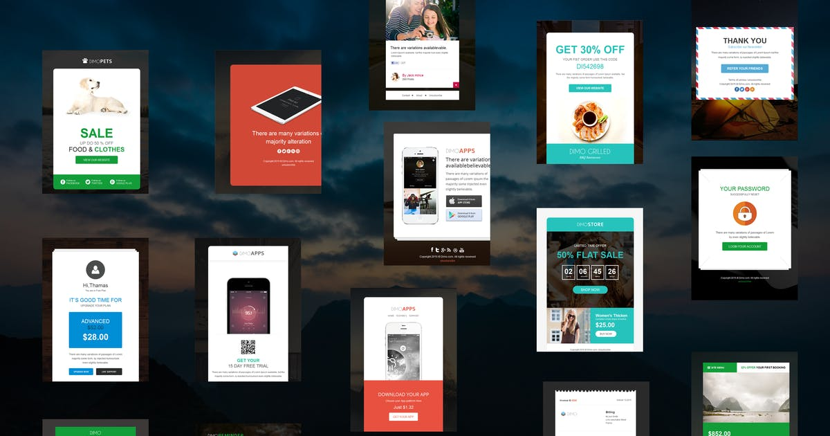 Download Dimo -16 Email Notification Template Set by williamdavidoff