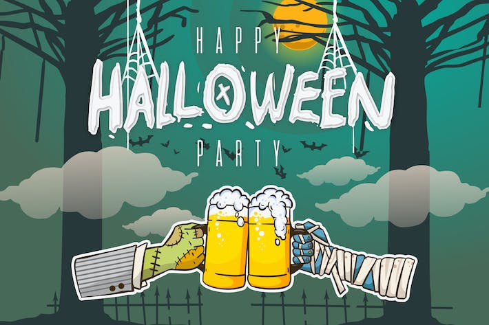 Thumbnail for Poster - Happy Halloween Party Illustration