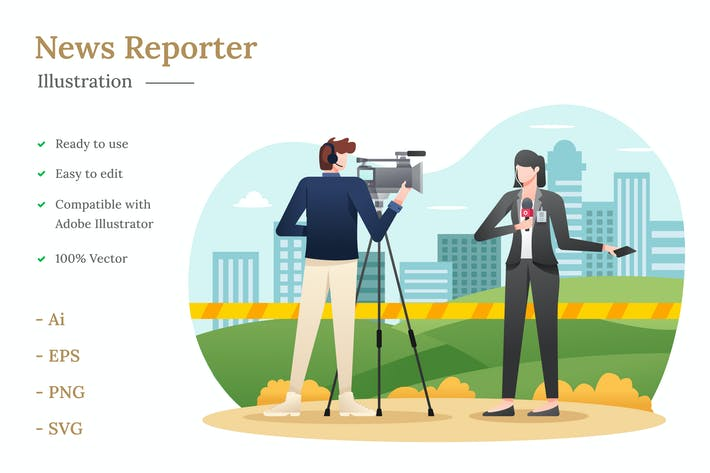 Thumbnail for News Reporter Illustration