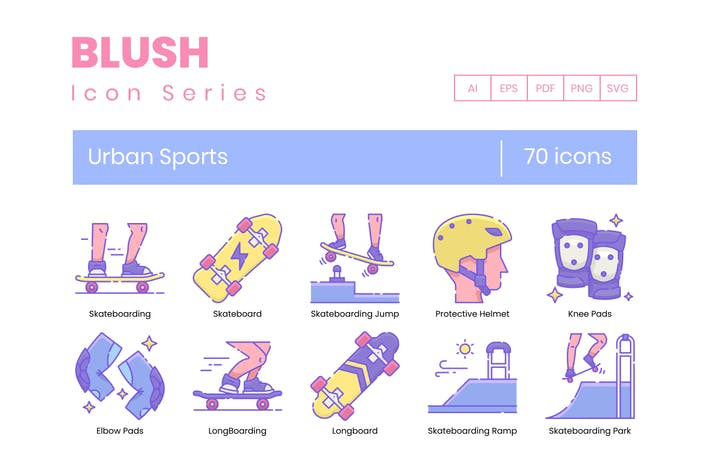 Thumbnail for 70 Urban Sports Line Icons