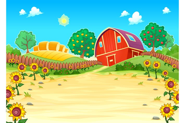 Thumbnail for Funny Landscape with the Farm and Sunflowers