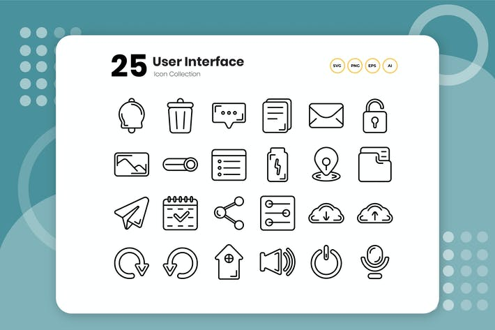 Thumbnail for 25 User Interface Outline Icon
