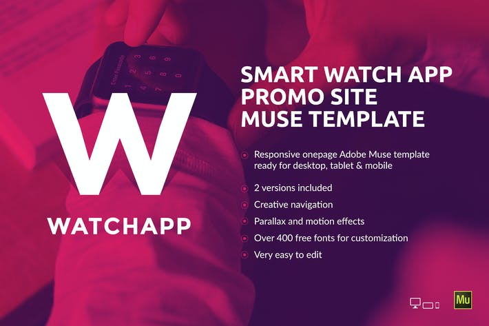 Thumbnail for WatchApp - Smart Watch App Promo Muse Template