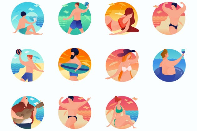 Beach Curvy People Concept Illustrations