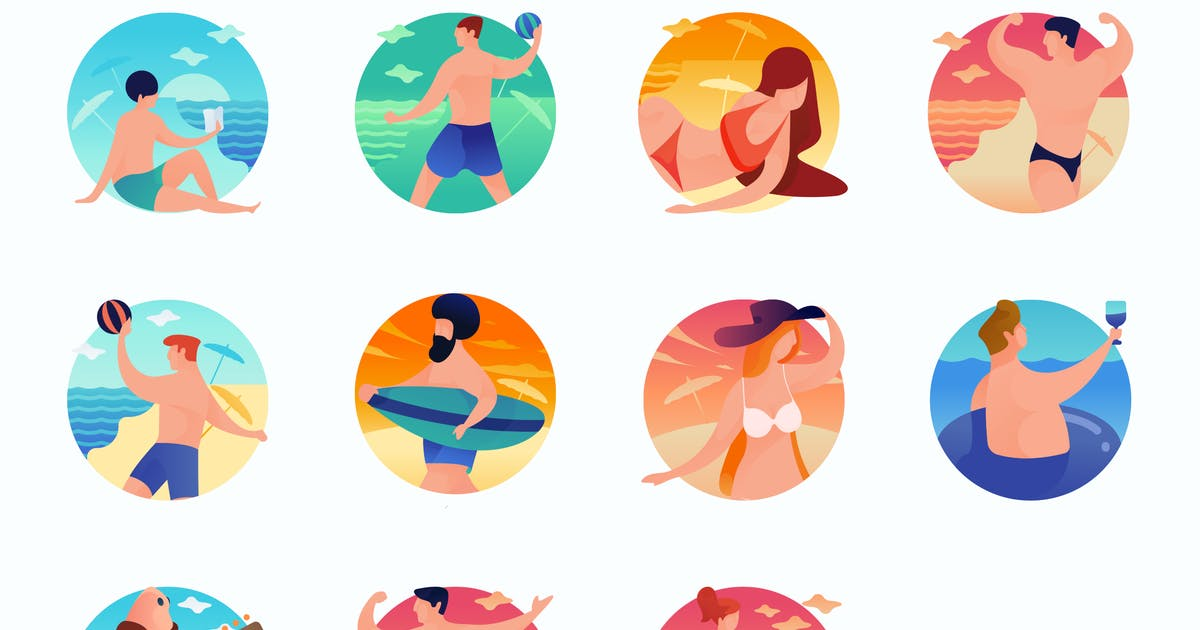 Download Beach Curvy People Concept Illustrations by roundicons
