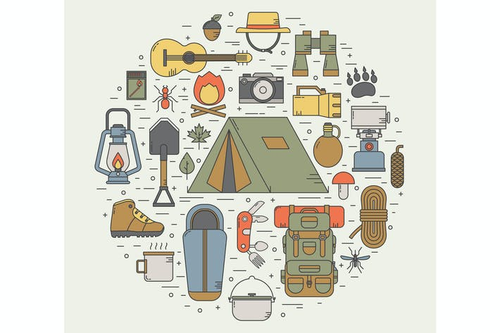 Thumbnail for Camping Line Art Icons in Kreisform