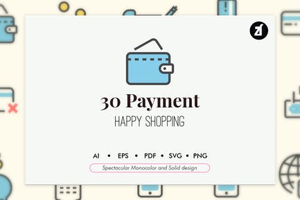 30 Payment elements in monocolor and solid design