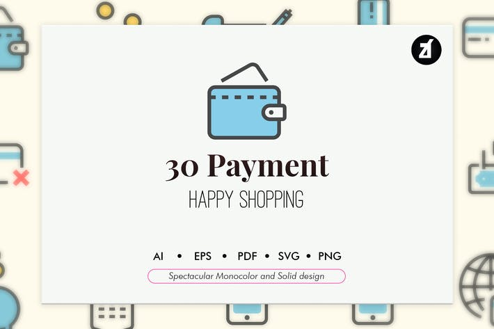Thumbnail for 30 Payment elements in monocolor and solid design