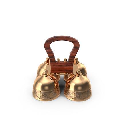 Brass Liturgical Bell 4 Tones Wood Handle
