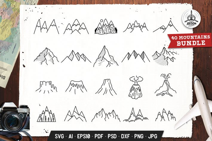 Thumbnail for Mountains Set Adventure Line Art Vector Graphic