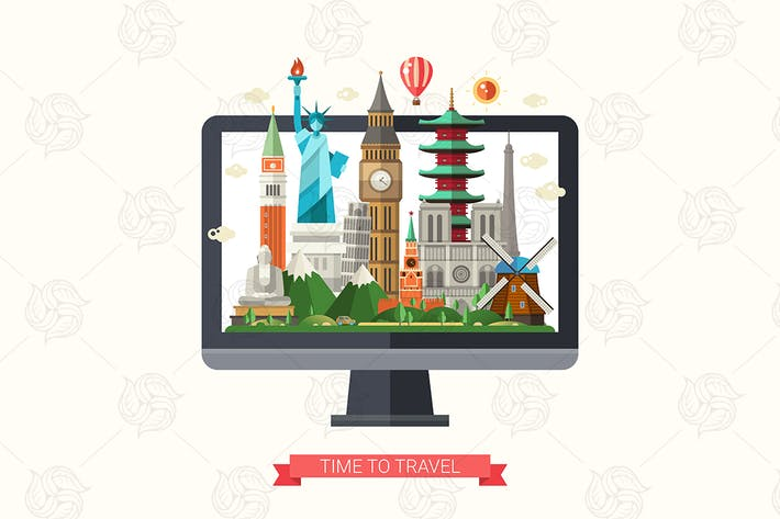 Travel - illustration with famous landmarks