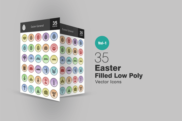 Thumbnail for 35 Easter Filled Low Poly Icons