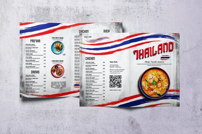 Thumbnail for Thai Cuisine Food Menu Bifold A4 & US Letter