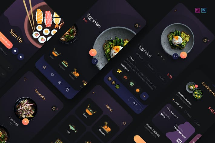 Thumbnail for Foda - Food Delivery Mobile App UX, UI Template