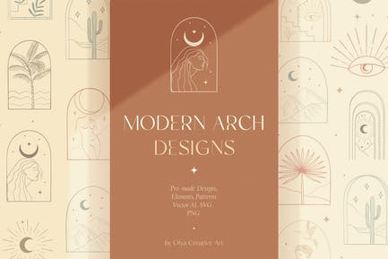 Bohemian Modern Arch Designs, Elements, Patterns.