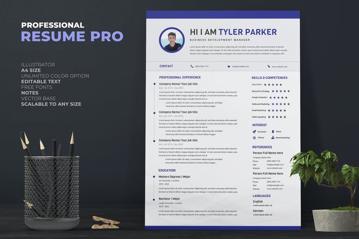 Cover Image For Blue Manager Resume Pro