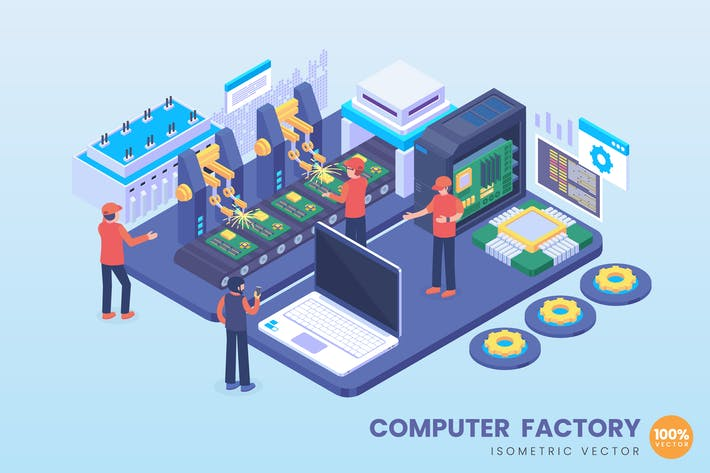 Thumbnail for Isometrische Computer-Fabrik-Konzept-Illustration
