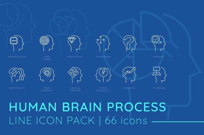 Thumbnail for Human Brain Process Line Icons