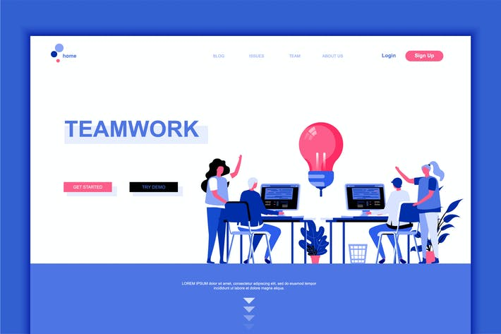 Thumbnail for Teamwork Flat Landing Page Template