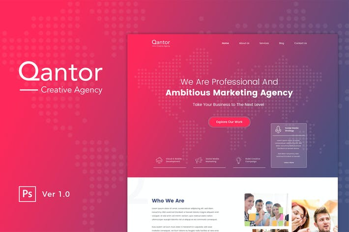Thumbnail for Qantor - Creative Agency Office PSD Template