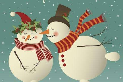 Two cute snowman in love