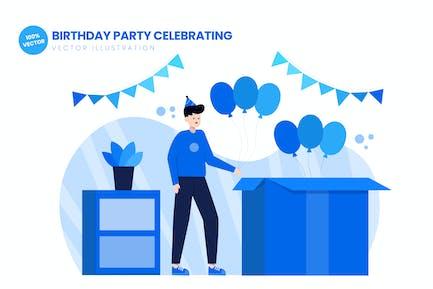 Geburtstagsparty Feiern flache Illustration