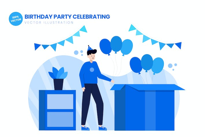 Thumbnail for Birthday Party Celebrating Flat Illustration