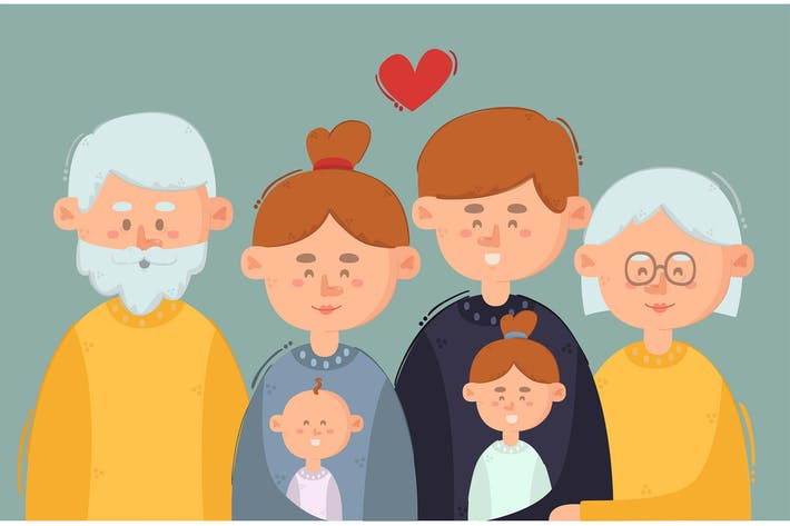 Big Family Cartoon Illustration Background