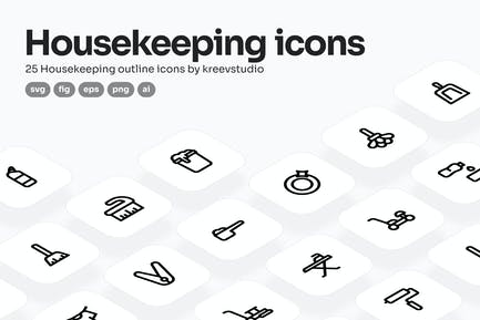 Housekeeping Line Icons