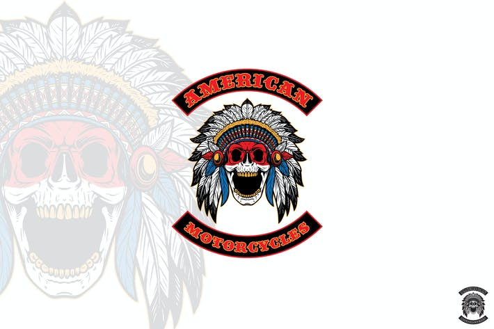 Native American Skull Chief Mascot Logo